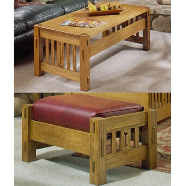 Woodworking Project Paper Plan to Build Arts and Crafts Coffee Table and Ottoman