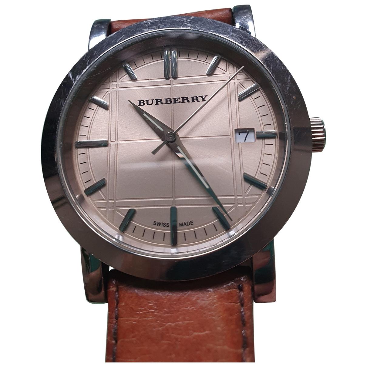Burberry \N Uhr in  Rosa Stahl