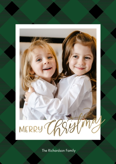 Christmas Photo Cards 5x7 Cards, Standard Cardstock 85lb, Card & Stationery -Christmas Gold Script Plaid by Tumbalina