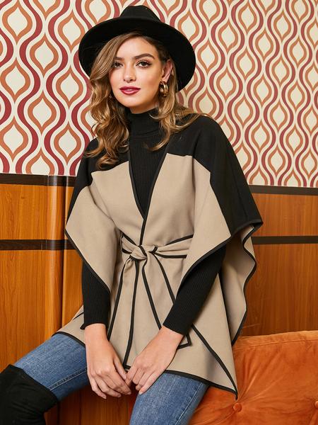 Yoins Khaki Color Block Belt Design Cape Coat