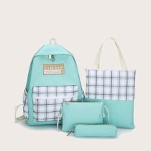4pcs Plaid Backpack Set