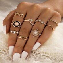 9 Stuecke Ring mit Strass Dekor