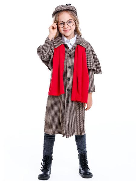 Milanoo Children Sherlock Cosplay Coffee Brown Scar Hat Cotton Linen Kids Cosplay Costumes