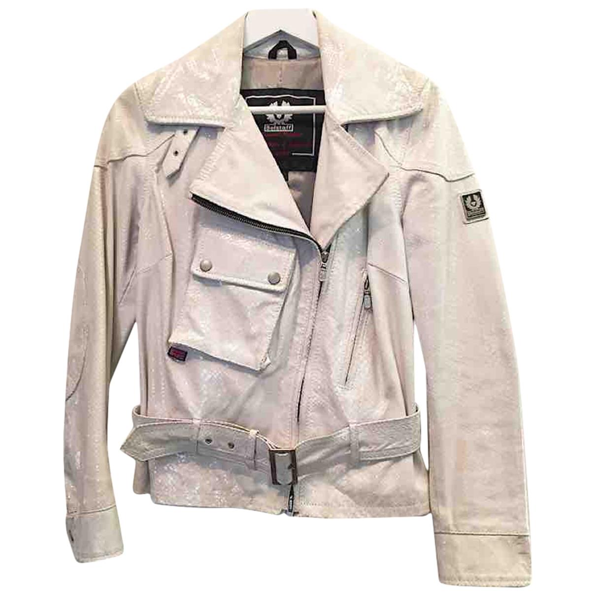Belstaff \N White Leather Leather jacket for Women 44 IT