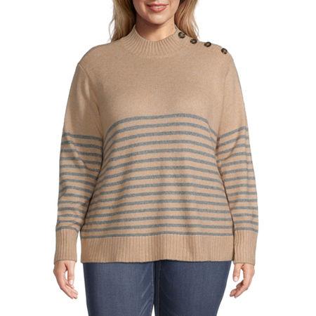 St. John's Bay-Plus Button Side Womens Mock Neck Long Sleeve Pullover Sweater, 1x , Beige