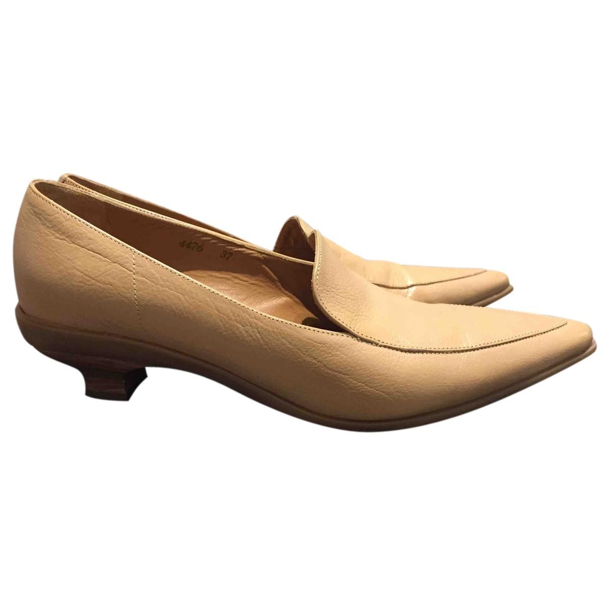 Vic Matié N Beige Leather Flats for Women 37 IT