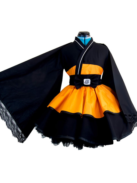 Milanoo Naruto Uzumaki Naruto Cosplay Costume Girl Version Lolita Kimono Dress Halloween