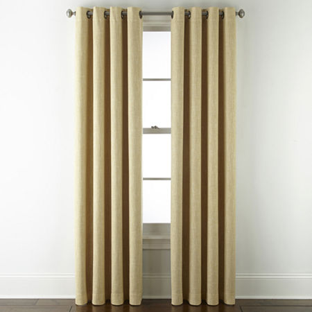 JCPenney Home Sullivan Blackout Grommet-Top Single Curtain Panel, One Size , Yellow