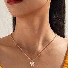 Halskette mit Schmetterling Anhaenger & Ohrring Set 3 Stuecke