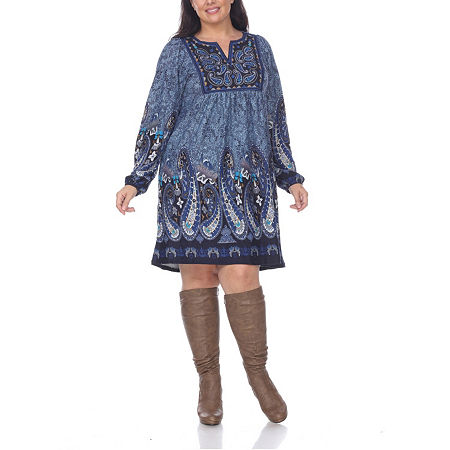 White Mark-Plus Embroidered Long Sleeve Sweater Dress, 1x , Blue