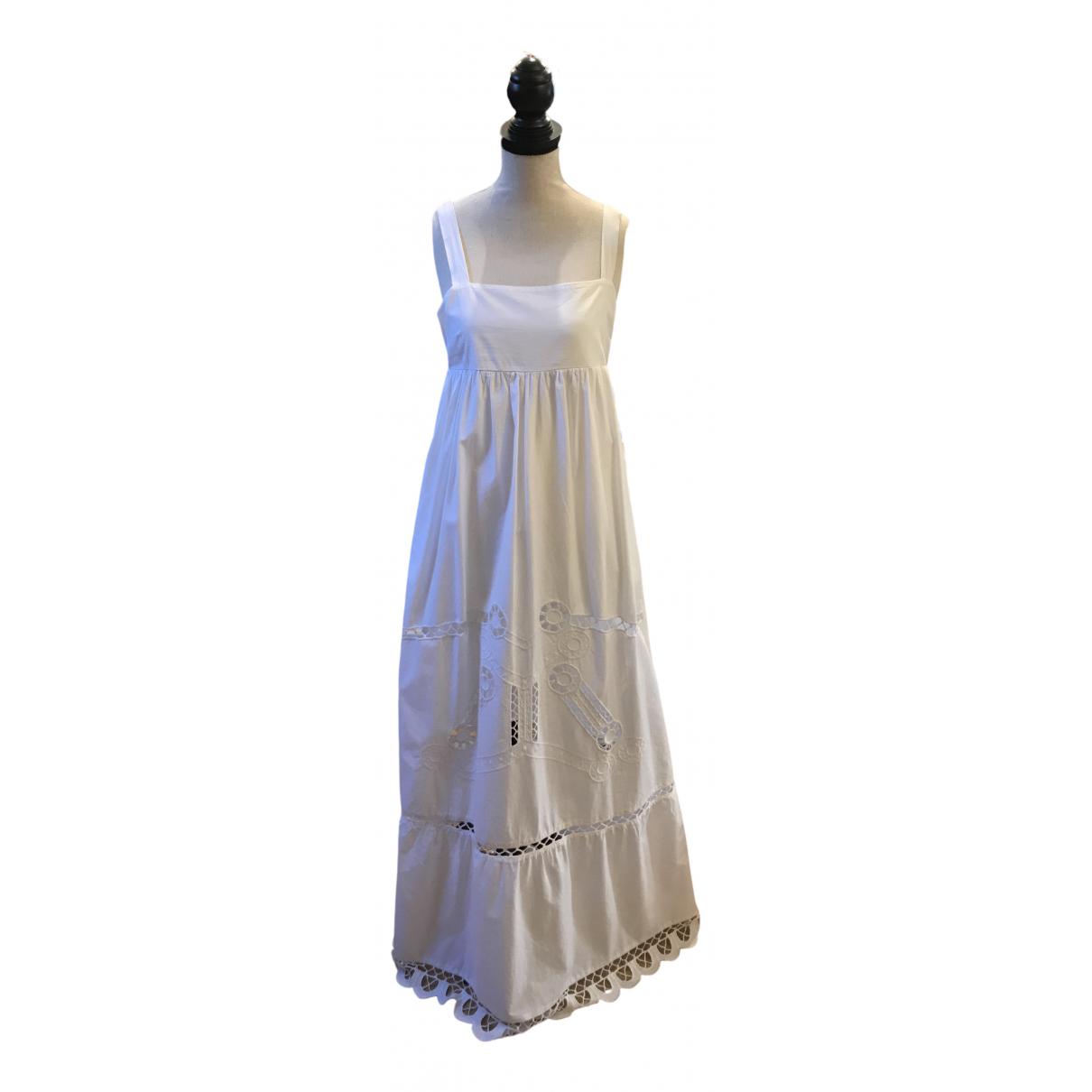 Semicouture \N Kleid in  Weiss Baumwolle