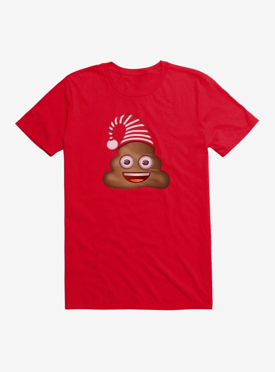 Emoji Holiday Icons Poop Striped Hat T-Shirt