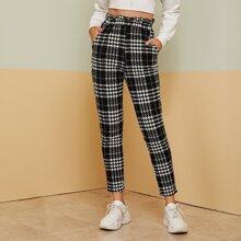 Pantalones de cuadros con bolsillo oblicuo de cintura con volante