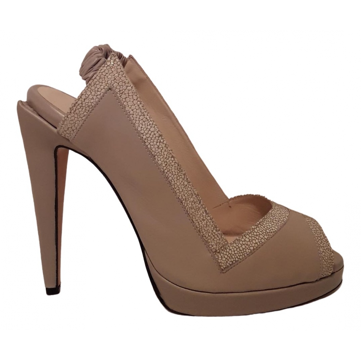 Hôtel Particulier \N Beige Leather Heels for Women 39 EU