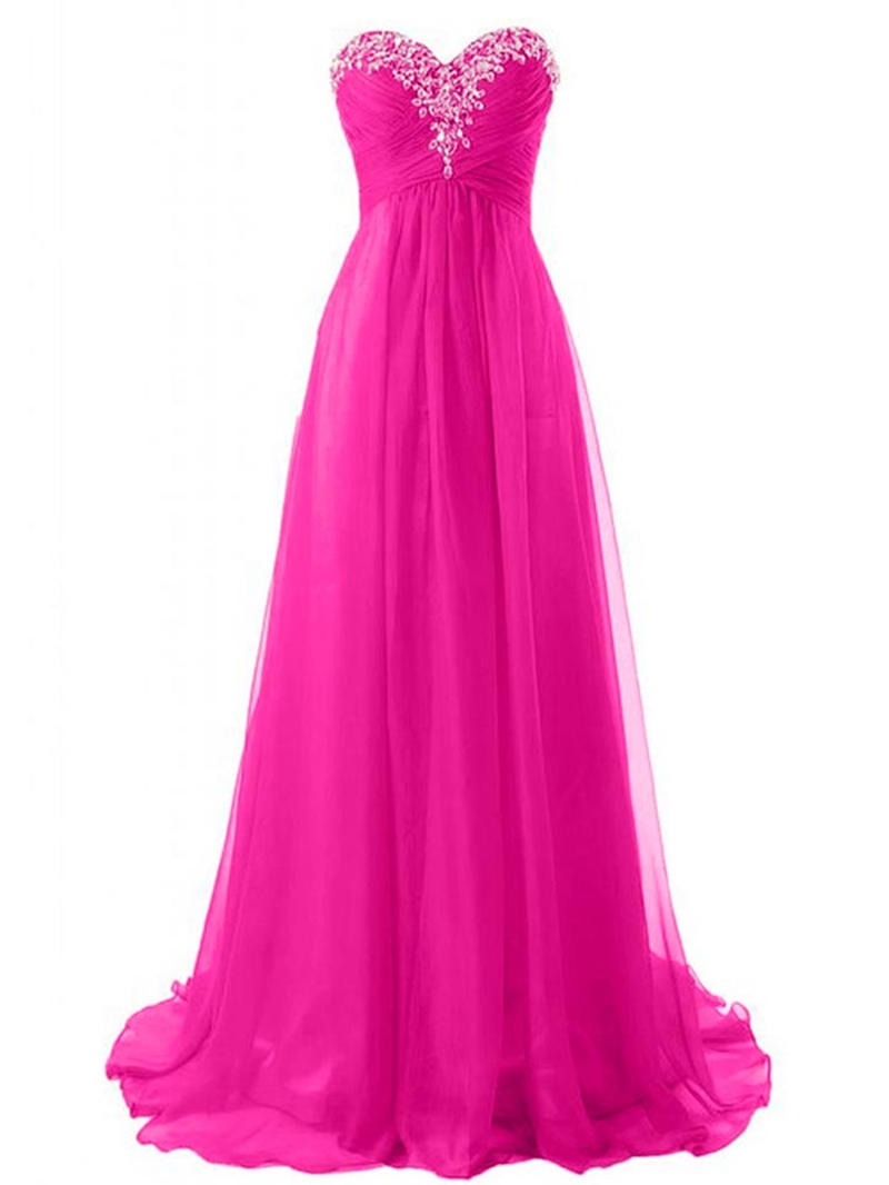 Ericdress Glimmering Sweetheart Ruched Beaded Floor-Length Prom Dress