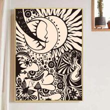 Wandmalerei mit Sonne & Mond Muster ohne Rahmen