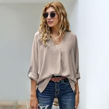 V-neck Roll Up Sleeve High Low Blouse