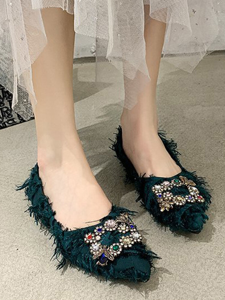 Women's Pointed Rhinestone Solid Color Suede Sexy Fashion Flats