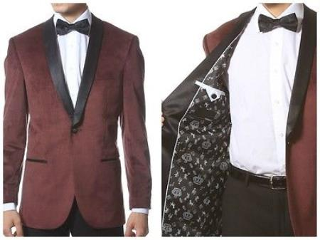 Mens Velour Tuxedo With Black Trim Shawl Collar Dinner Jacket