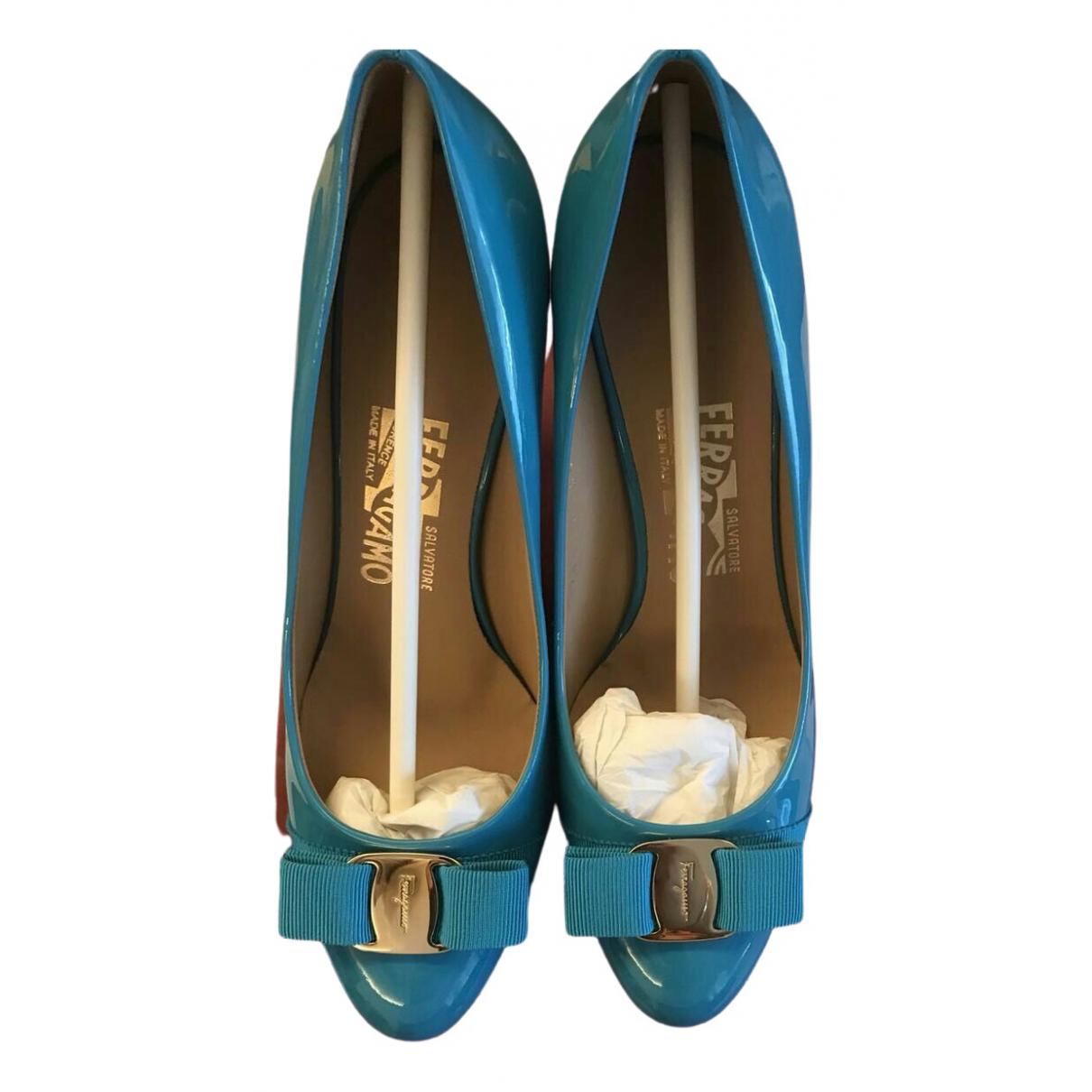 Salvatore Ferragamo \N Blue Patent leather Heels for Women 7 US