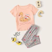 Toddler Girls Cartoon Graphic PJ Set