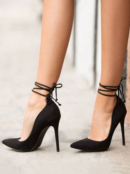 Milanoo Black High Heels Women Suede Pointed Toe Lace Up Pumps Sexy Heeled Shoes