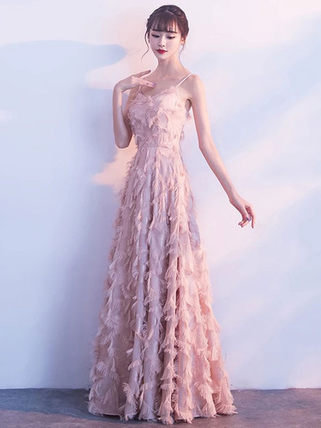 Milanoo Prom Dresses Blush Pink Long Halter Feathers Sleeveless Floor Length Graduation Dress wedding guest dress