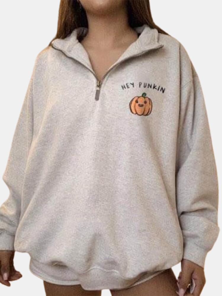 Halloween Pumpkin Print Lapel Plus Size Sweatshirt