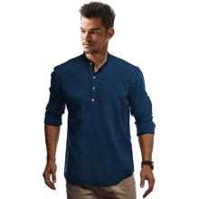 Einfarbiges Hemd mit halben Knopfen