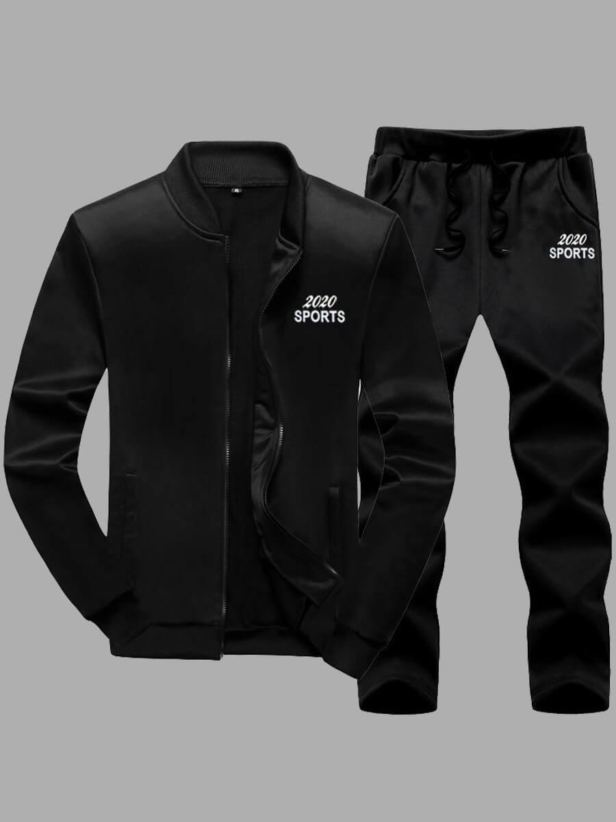 LW Lovely Casual Hooded Collar Print Zipper Design Black Men Two-piece Pants Set