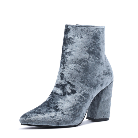 Yoins Blue Suede Chunky Heels Ankle Boots