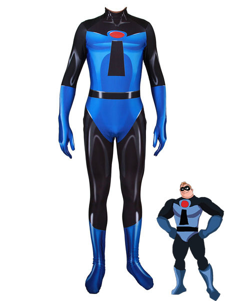 Milanoo The Incredibles Cosplay Blue Print Disney Cartoon Cosplay Jumpsuit
