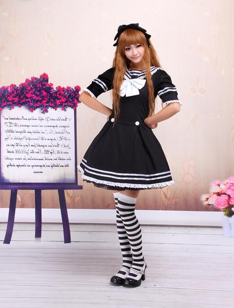 Milanoo Traje negro de lolita de algodon con escote de estilo marinero de estilo clasico