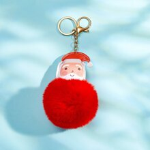 Christmas Santa Claus & Pom Pom Charm Keychain