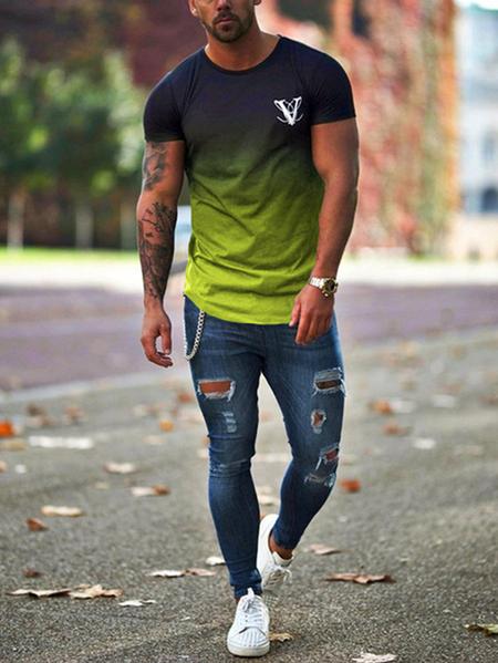 Yoins Men Summer Ombre Cotton Casual Round Neck T-Shirt