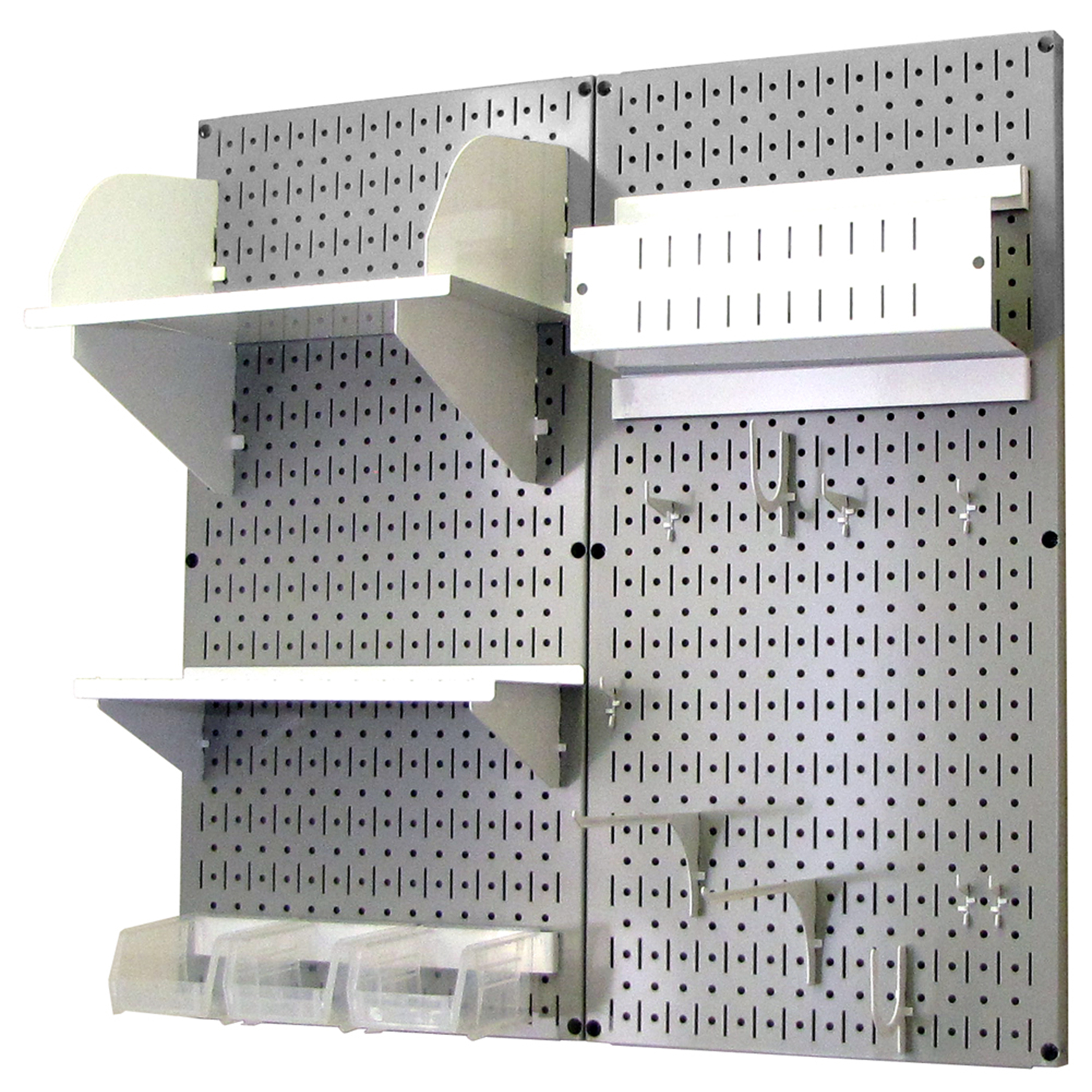 Pegboard Hobby Craft Pegboard Organizer Storage Kit with Gray Pegboard and White Accessories