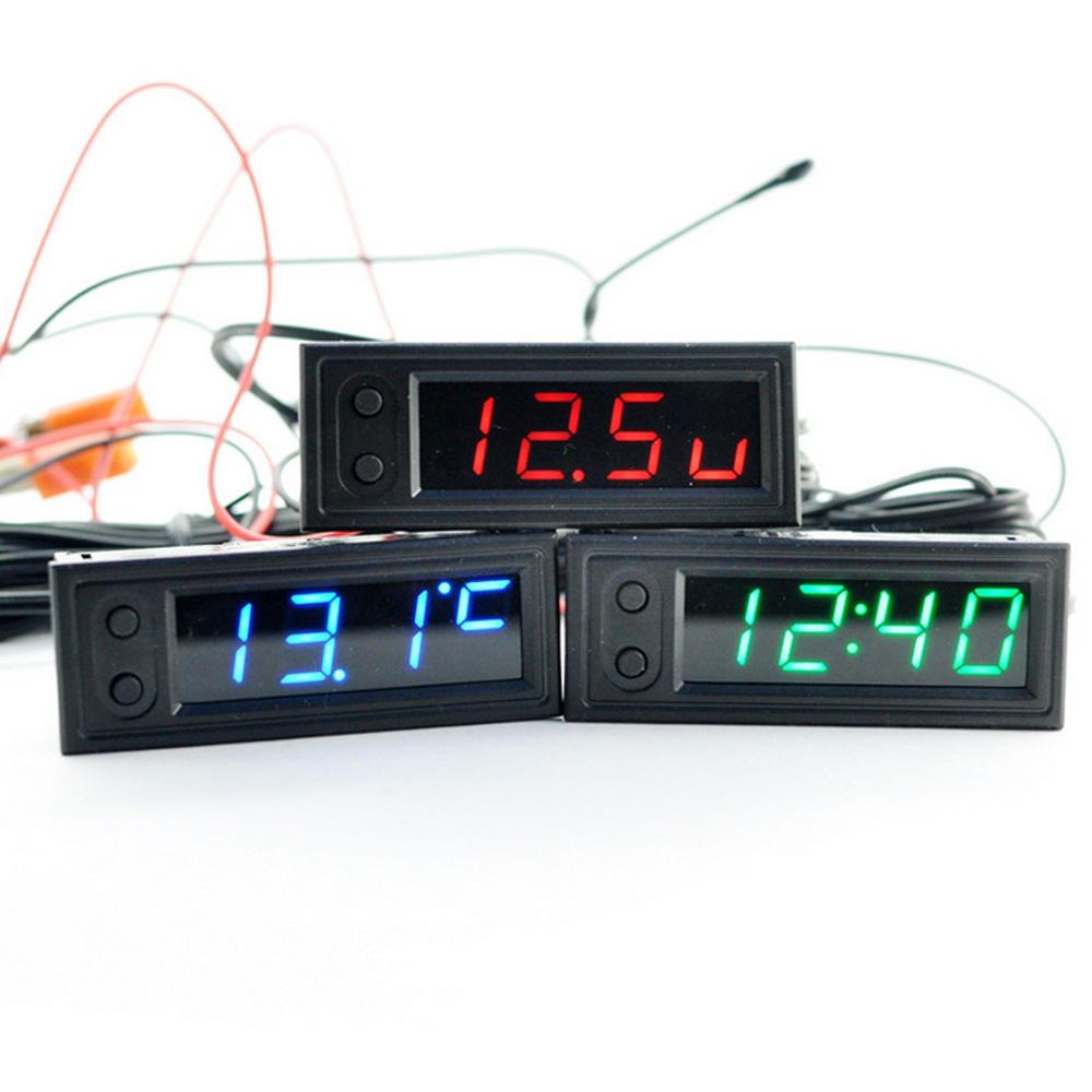 High Precision 3 IN 1 Car Clock Luminous Thermometer Voltmeter Car Temperature Battery Voltage Monitor Panel Meter DC 12