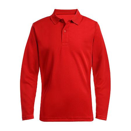 IZOD Little & Big Boys Long Sleeve Wrinkle Resistant Moisture Wicking Polo Shirt, Large , Red