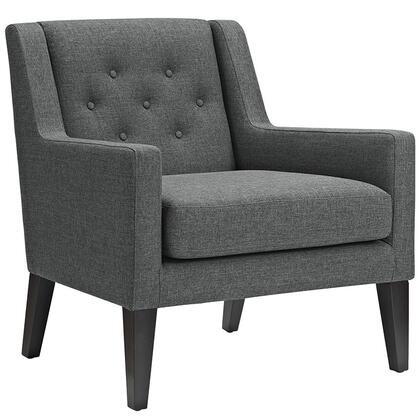 Earnest Collection EEI-2308-GRY Armchair with Black Stained Tapered Wood Legs  Dense Foam Padding  Non-Marking Plastic Foot Glides and Polyester