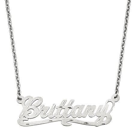 Personalized 15x44mm Diamond-Cut Scroll Name Necklace, One Size , White