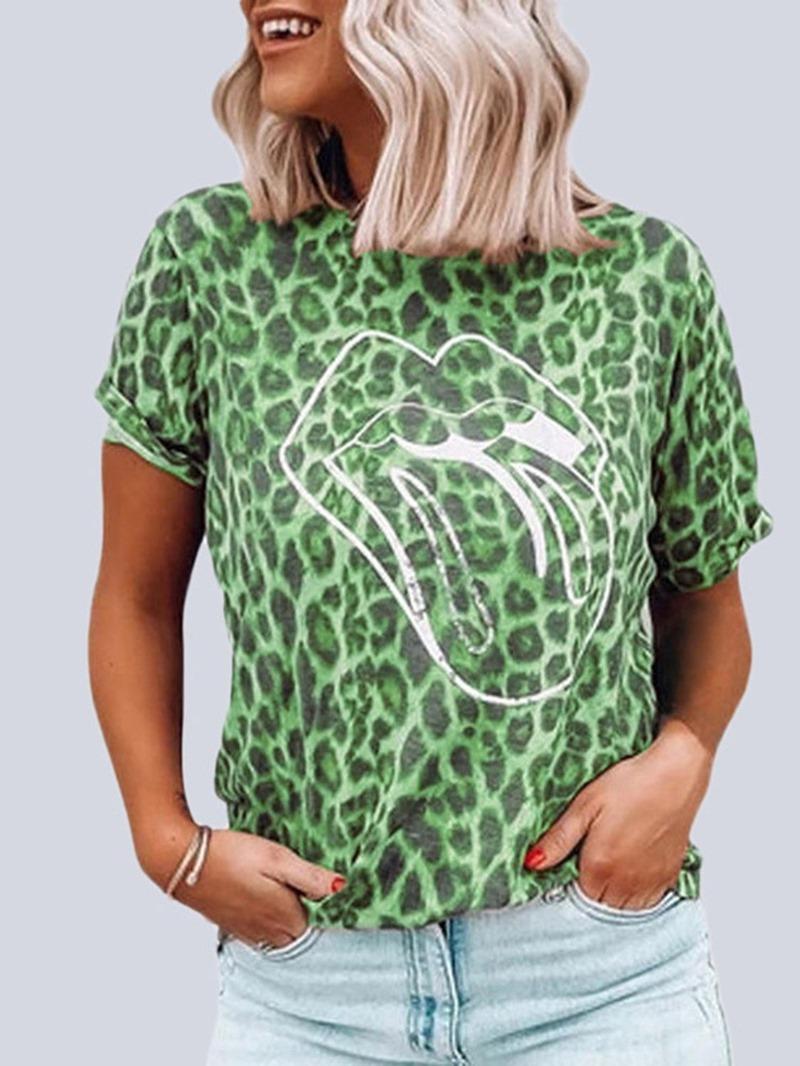 Ericdress Standard Leopard Short Sleeve Loose Summer T-Shirt
