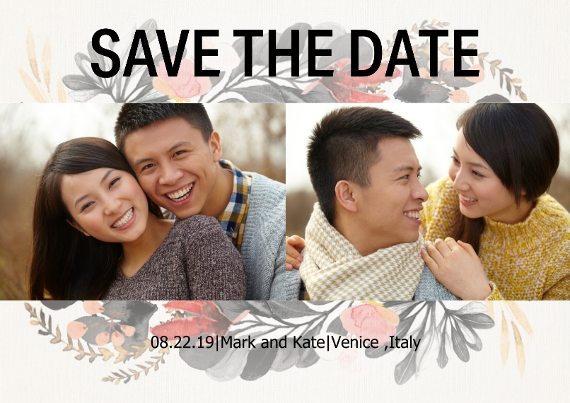 Save the Date Set of 20, Premium 5x7 Foil Card, Card & Stationery -Floral Save The Date