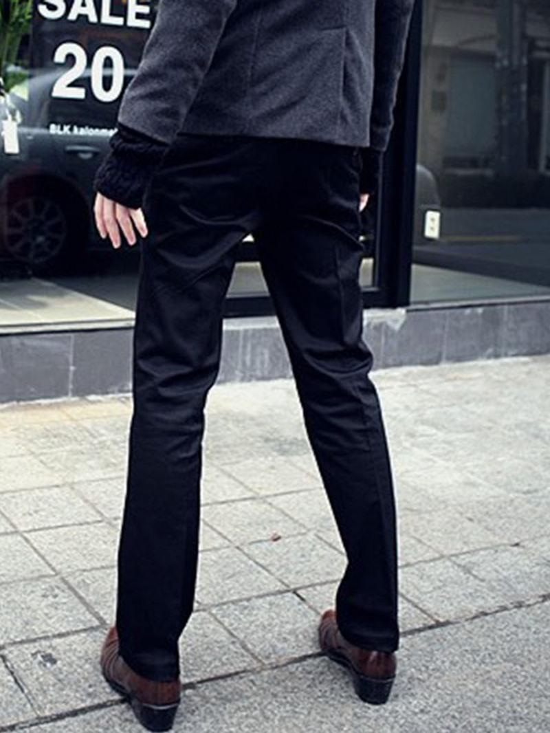 Ericdress Plain Straight Zipper Mid Waist Casual Pants