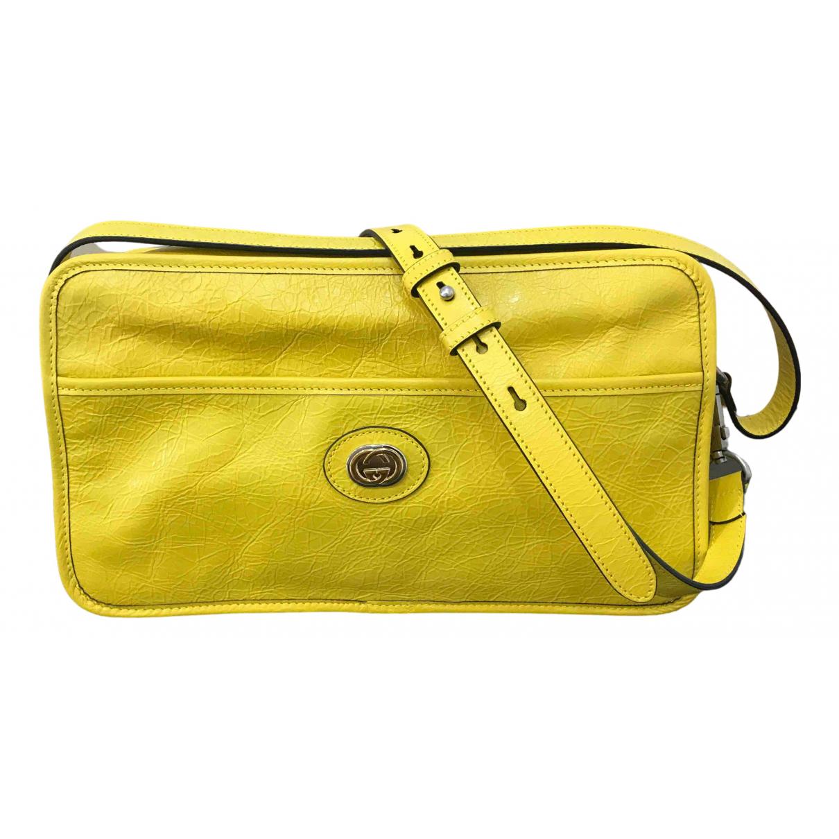 Gucci - Sac a main   pour femme en cuir - jaune