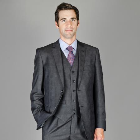 Mens Charcoal Plaid Wool and Silk Blend Vested Suit