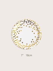 10 piezas plato desechable con patron de lunares