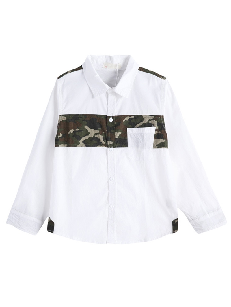 Ericdress Lapel Camouflage Patchwork Boys' Shirt