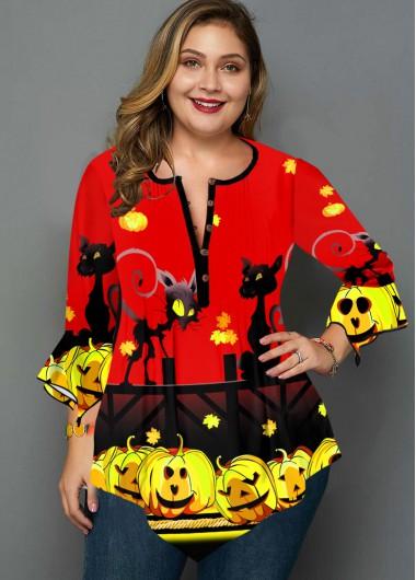Halloween Print Hanky Cuff Plus Size Blouse - 3X