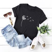 Camiseta con estampado de diente de leon