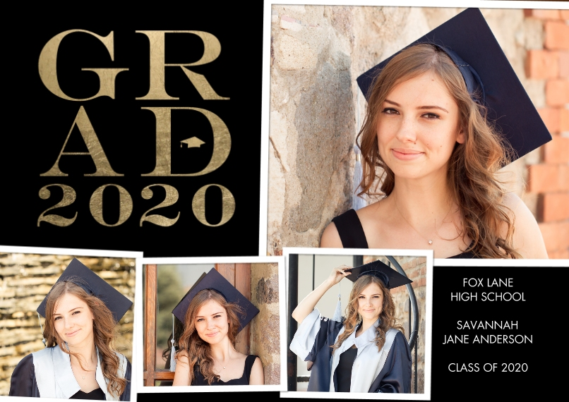 2020 Graduation Announcements 5x7 Cards, Standard Cardstock 85lb, Card & Stationery -Grad 2020 Bold by Tumbalina
